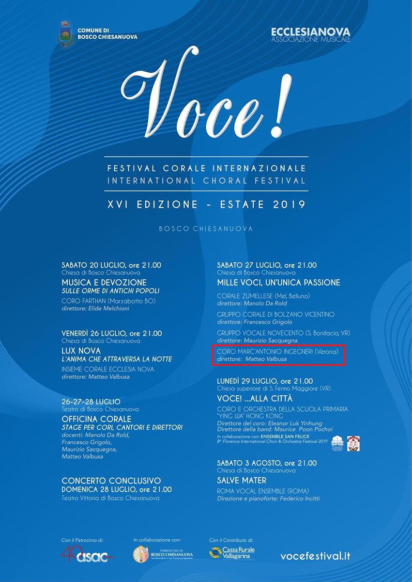 27.07.2019 - Festival corale internazionale VOCE, Bosco Chiesanuova (VR)
