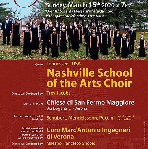 "Il ""Marc'Antonio Ingegneri"" accoglie il Nashville School of the Arts Choir a Verona"